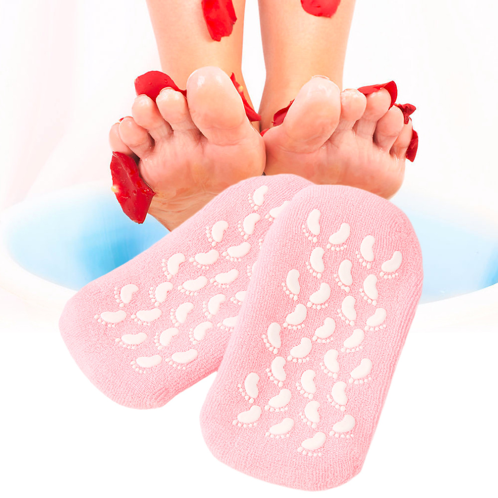 1Pair Moisturize Soften Repair Cracked Skin Gel Sock Skin Foot Care Tool Treatment Spa Sock with pink Color sock
