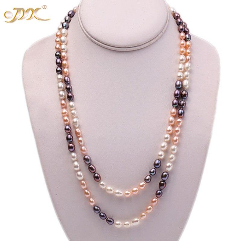 """100% Wahr Jyx Vintage Perle Lange Halskette 7-8mm Multicolor Oval Natürliche Süßwasser Perle Halskette Pullover Für Frauen 48"""" Weihnachten Schmuck"""
