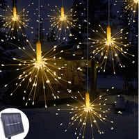 DIY 120/200 LED al aire libre ignífugo explosión estrella Navidad Hada luz con energía Solar colgante Starburst LED cadena Garland