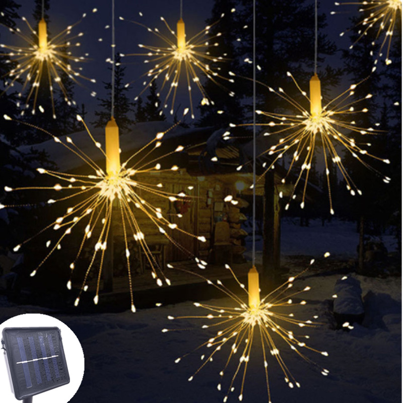 DIY 120 /200 Outdoor LED Firework Explosion Star Christmas Fairy Light With Solar Power Hanging Starburst LED String Garland
