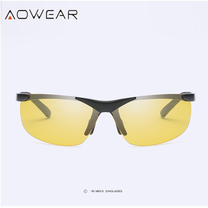 0e1d40a5fd AOWEAR Quality HD Night Vision Glasses Men Night Driving Rimless Sunglasses  Mens Polarized Car Drivers Yellow Goggles Spectacles Package Included