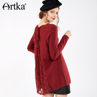 Artka 2018 Autumn& Winter Vintage Elegant Casual 100% Goat Wool Lace V Neck Sweater SC10170Q