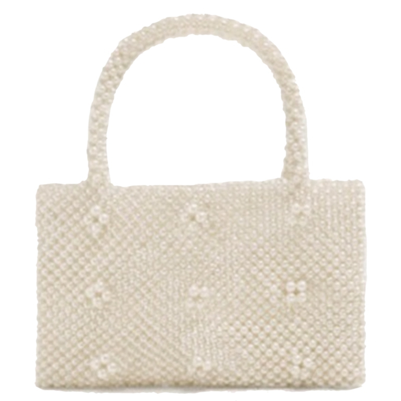 AUAU Pearl Handmade Beaded Small Tote Bags Vintage Women Pearl Evening Party Handbag Luxury Ladies Dress Hands Bags