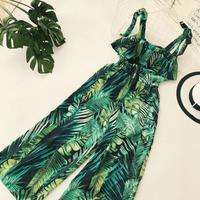 Ruffle Leaf print sexy lace up jumpsuits Boho green sleeveless rompers women jumpsuit 2019 Beach chiffon summer jumpsuit