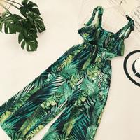 Ruffle Leaf print sexy lace up jumpsuits Boho green sleeveless rompers women jumpsuit 2018 Beach chiffon summer jumpsuit