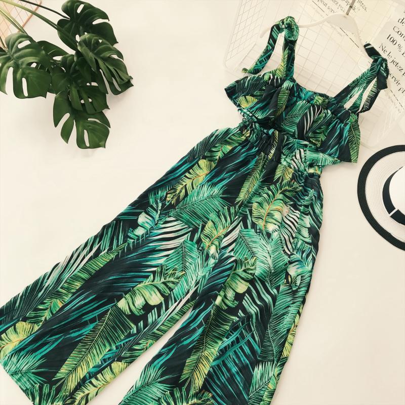 Ruffle Leaf print sexy lace up   jumpsuits   Boho green sleeveless rompers women   jumpsuit   2019 Beach chiffon summer   jumpsuit