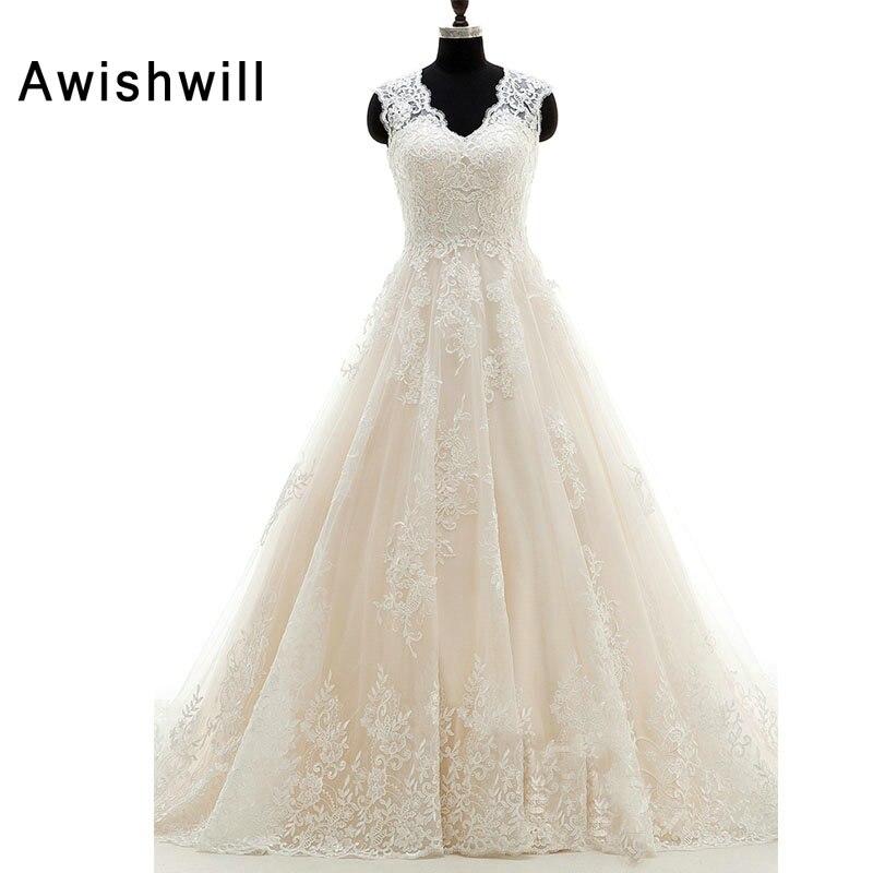 Real Photos Customized Plus Size Bridal Gown V-Neck Lace Appliques Wedding Dresses A-Line Wedding Dress Court Train 2019