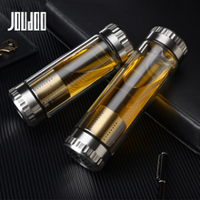 JOUDOO 400ML Business Type Water Glass Bottle with Stainless Steel Tea Infuser Filter Double Wall Sport Tumbler 35
