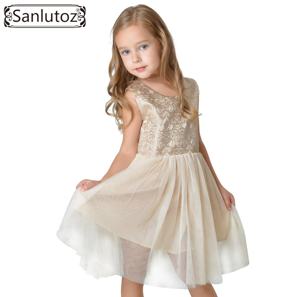 Sanlutoz Princess Girl Dress 2017 Toddler Children Clothing Luxury Kids Clothes Wedding Party Holiday Christmas