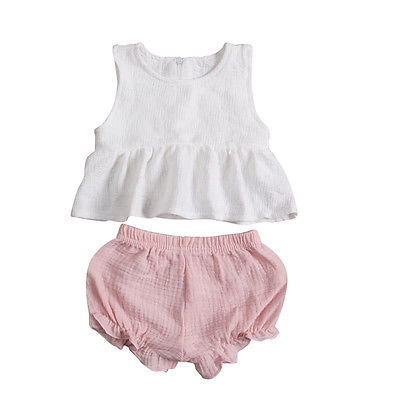 Newborn Kids Baby Girls Summer Outfits Clothes Sleeveless Tutu Tops+ Pink e shorts 2PCS Sunsuit Clothing Set