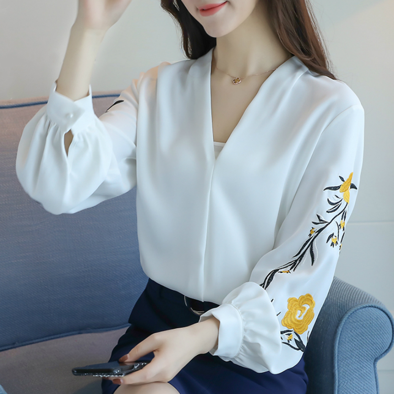 long sleeve chiffon blouse women shirts womens tops and blouses blusas mujer de moda 2018 long sleeve v neck office blouse A456-in Blouses & Shirts from Women's Clothing on AliExpress - 11.11_Double 11_Singles' Day 1