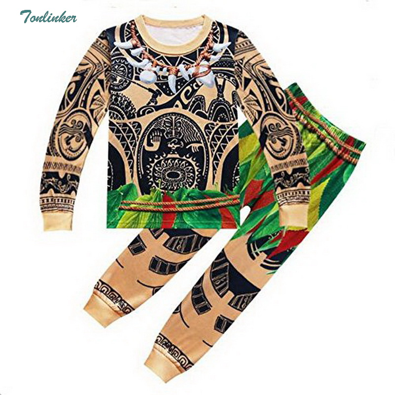 Moana Maui Costume Boys Pyjama Sets Nightwear Sleepwear Long Sleeve 3-10 Years Teen Kid Child T Skirt Clothes Bathrobe Cartoon