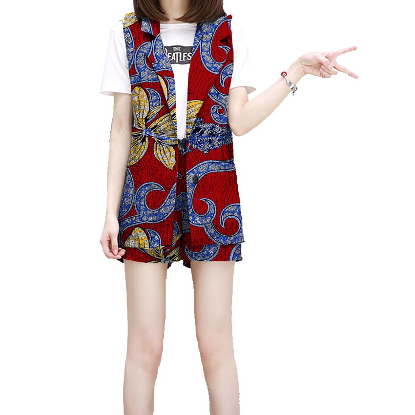 Fashion Africa Print Women Suit Short 2 Pieces Set Festive Ladies Straight Shorts With Sleeveless Sleeve