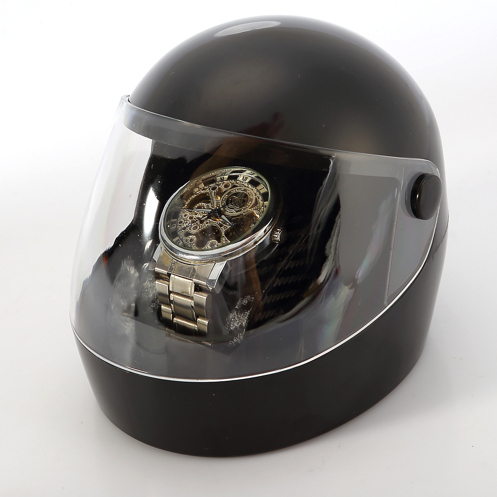 Creative Design Luxury Motorcycle Helmet Shape Pu Leather Cuff Plastic Single Watch Storage Box