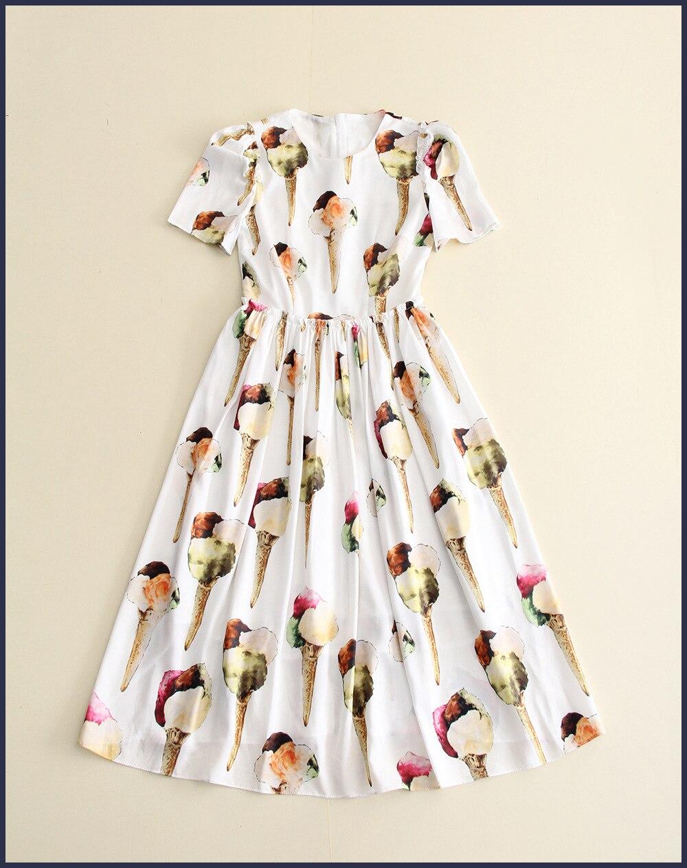 03bf5055a33a Nuovo 2017 moda primavera estate donna manica corta al ginocchio casual  lunghezza del vestito carino gelato modelli di stampa abiti nero bianco in  Nuovo ...