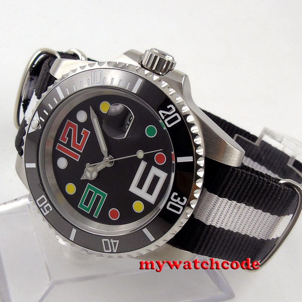 40mm bliger nero sterile quadrante cristallo di zaffiro movimento automatico mens watch11040mm bliger nero sterile quadrante cristallo di zaffiro movimento automatico mens watch110