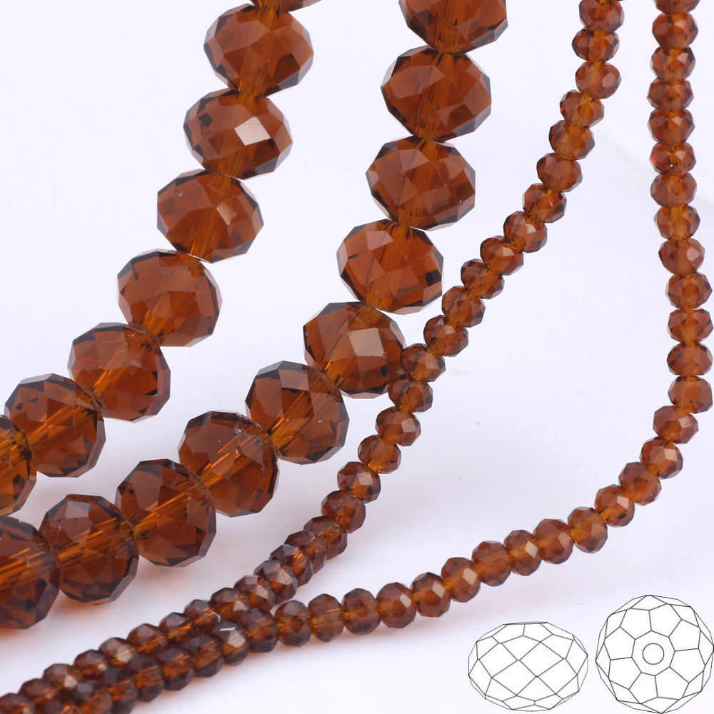 OlingArt 3 4 6 8 10mm Round Glass Beads Rondelle Austria faceted crystal Dark Camel color Loose bead DIY Jewelry Making in Beads from Jewelry Accessories