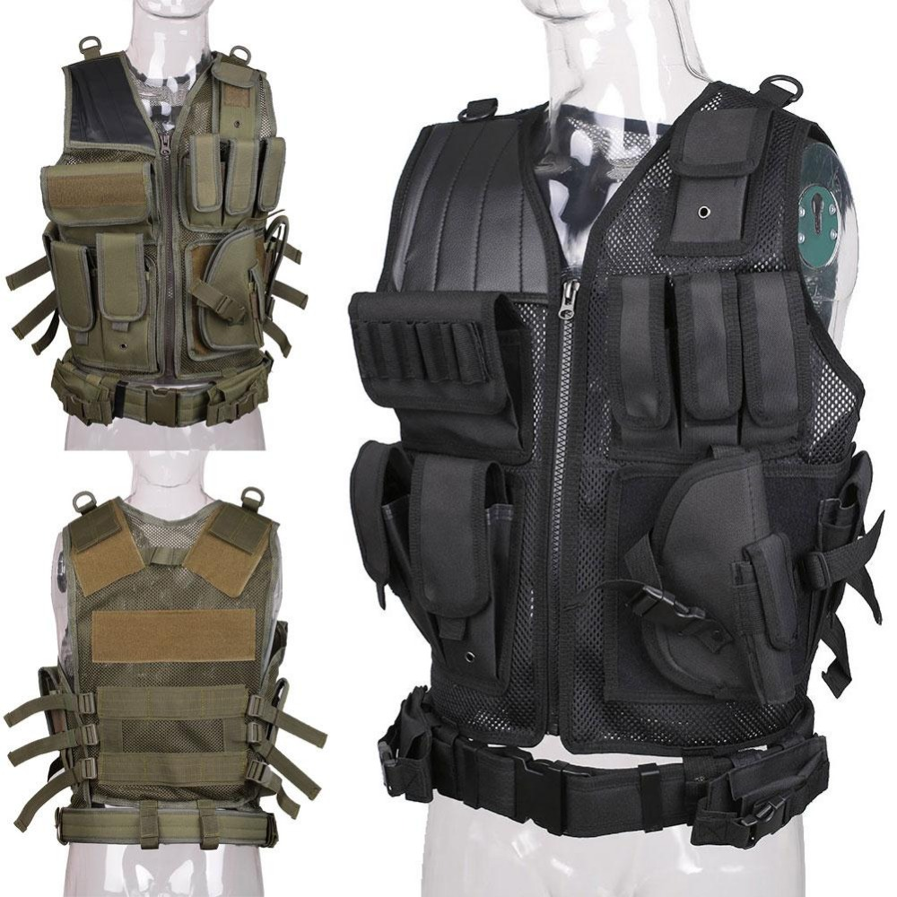 Military Tactical Vest Army Hunting Molle Airsoft Vest Outdoor Body Armor Swat Combat Painball Black Vest for Men 5 chic chefs horizontal ceramic fruit knife black white 13 2cm blade