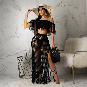 a suit of charming embellished hollow out rings for women New Bathing Suit Women Fashion Long Sleeve Boat Neck Tassel Hollow Out Side Slit Beach Dress 2pcs Swimming Suit For Women