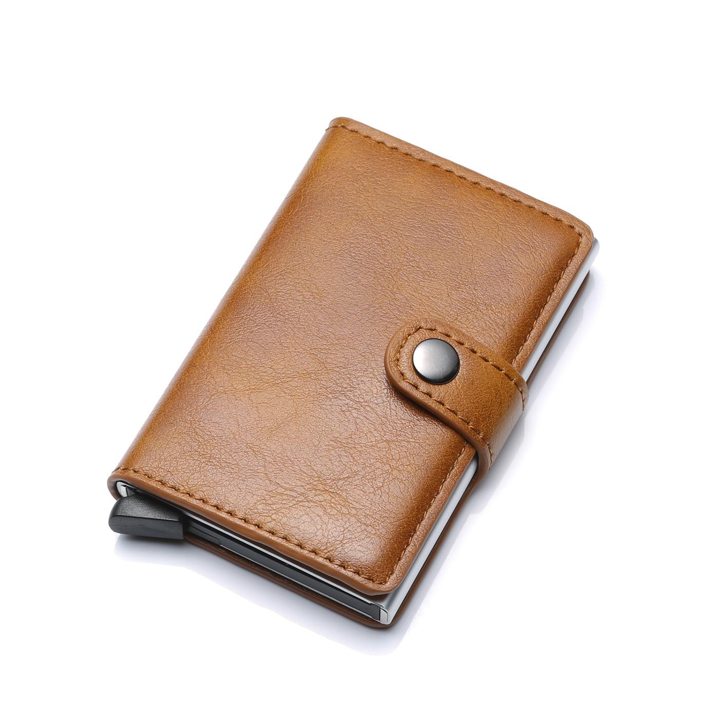2019 nova Bolsa Da Moeda Homens Carteira De Alumínio do Cartão De Crédito Automático de Volta Bolso titular DO Cartão De ID de RFID Bloqueio Mini Carteira Mágica