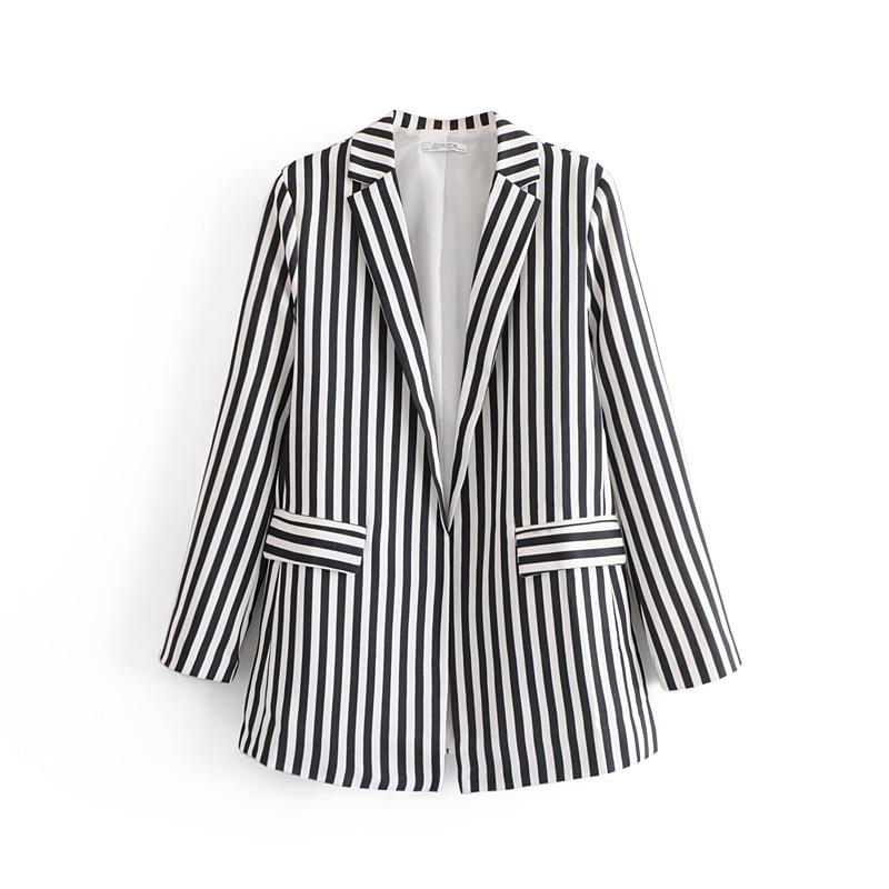 Black Striped Women Chic Blazers 2019 Spring-Autumn Casual Suits Ladies Cardigan Blazer Twill Jackets Girls Fashion Tops Femme