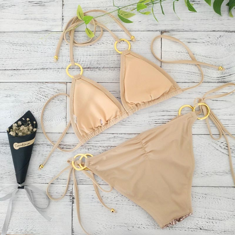 2017 New Sexy Bikinis Sequins Golden Color Women Bandage Bikini Set Push-up Padded Bra Swimsuit Suit Swimwear 2570 1