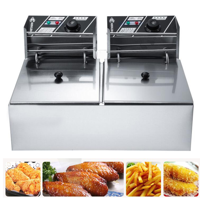 double tank electric air fryer machine French Fries Fried Chicken Fryer stainless steel double tank electric fryer machine 2 5kw 16l electric commercial deep air fryer french fries fried chicken fryer