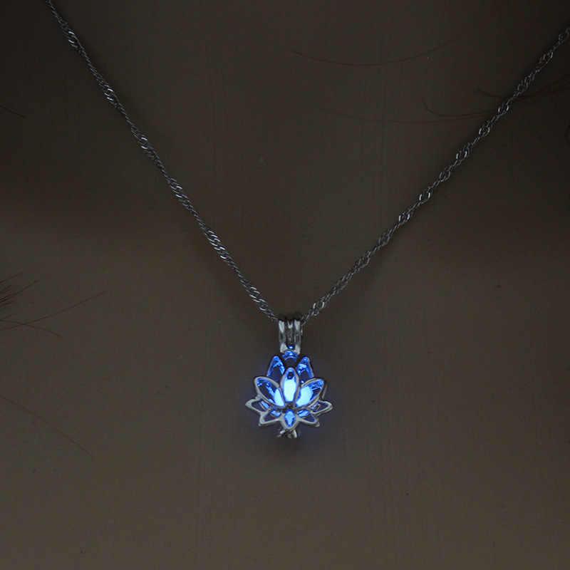 זוהר זוהר בחושך ירח לוטוס פרח בצורת תליון שרשרת לנשים יוגה תפילת בודהיזם תכשיטים