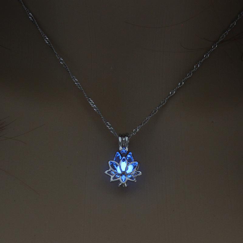 Luminous Glowing In The Dark Moon Lotus Flower Shaped Pendant Necklace For Women Yoga Prayer Buddhism Jewelry