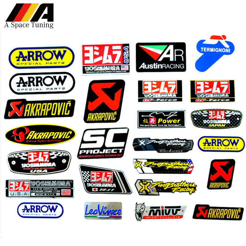 3D Aluminum Heat-resistant Motorcycle Exhaust Pipe Decal Sticker For Scorpio Yoshimura Akrapovic MIVV Leovince Two Brother Arrow(China)