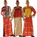 Disfraces полиэстер ограниченной 2016 срок годности танцевальные костюмы хмонг одежды древняя китайская костюм мужчины династии цин арендодатель