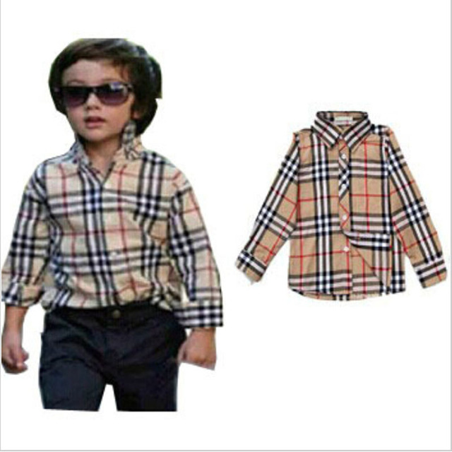 Hot David Beckham son's Choice!!Boys Brand Shirts Plaid Boy Cotton Shirt Casual Kids Clothing Top Quality Baby boy shirt Camisa