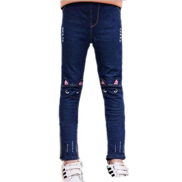 802afc74fa668 Girls Jeans Pants 2019 Spring Fashion Kids Leggings embroidery Cartoon Cat  Children Pencil Pants Long Trousers Pantalon Fillette