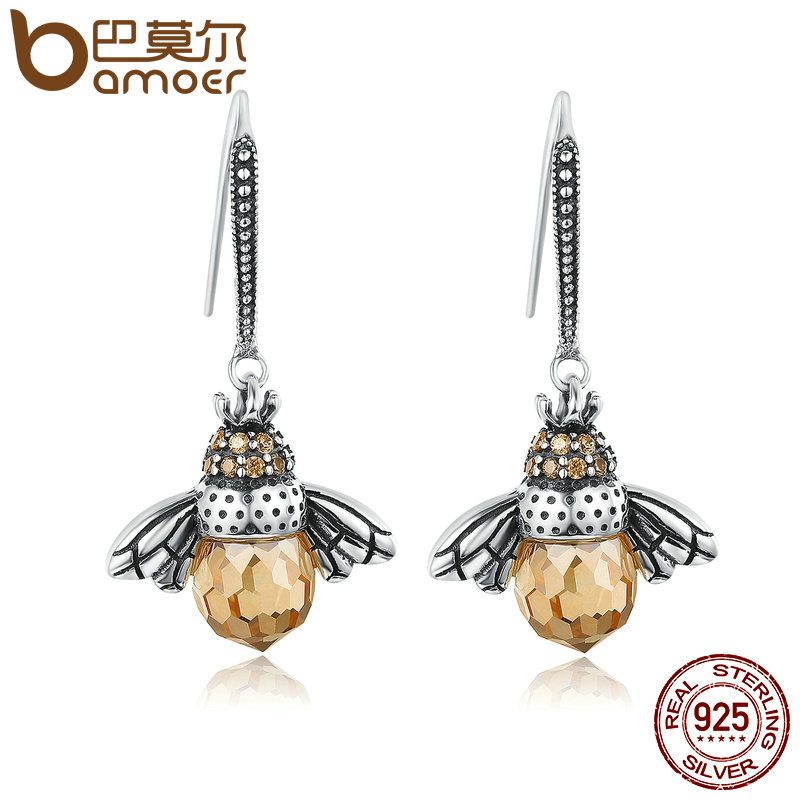 BAMOER Hot Sale Genuine 925 Sterling Silver Lovely Orange Bee Animal Drop Earrings For Women Fine