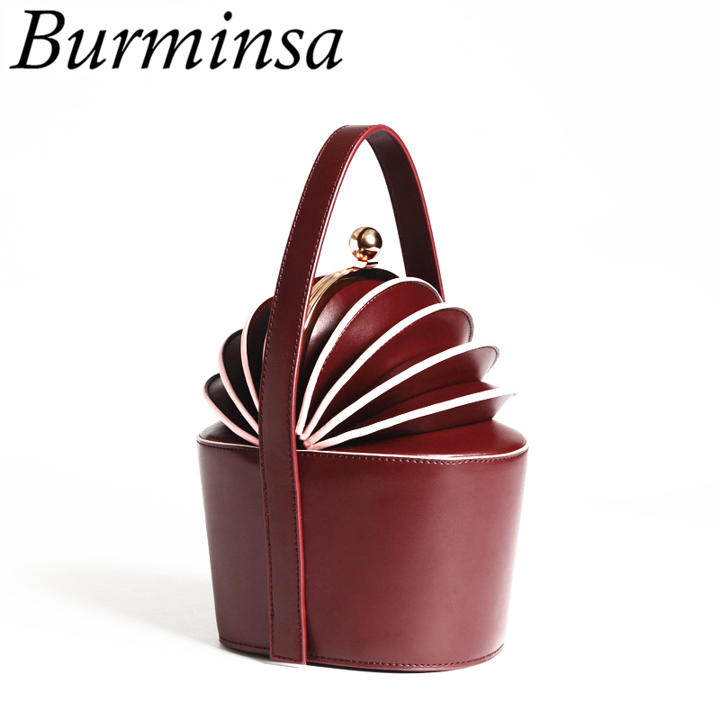 Burminsa Women Bucket Genuine Leather Bags Mini Pineapple Tote Basket Bags Designer Handbags High Quality New Shoulder Bags 2018 2017 new female genuine leather handbags first layer of cowhide fashion simple women shoulder messenger bags bucket bags