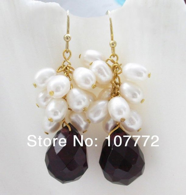 17mm faceted drip purple crystal pearl  earring -  free+ shippment