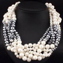 Mujeres de la moda Par Diseño Corto Gargantillas Collares Joyería Declaración Chunky Collar de Cadena De Perlas De Imitación de Tejer N3124
