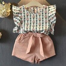 Clothing Sets 2019 Children Clothing Sleeveless Bow T-shirt+Print Pants 2Pcs for Kids Clothing Sets Baby Girl suit цена в Москве и Питере