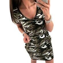 5da8b428f0530 Women Camouflage Dress 2018 Casual Summer Short Sleeve Shirt Sundress Party  Sexy Mini Dresses Bodycon V