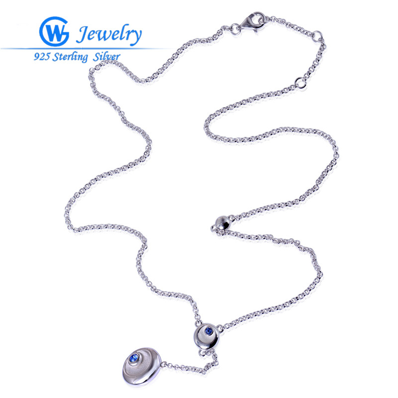 Hot Sale Ladies Pendants Necklaces Real 925 Silver 42cm Long Necklace Collection AIMILI  ...