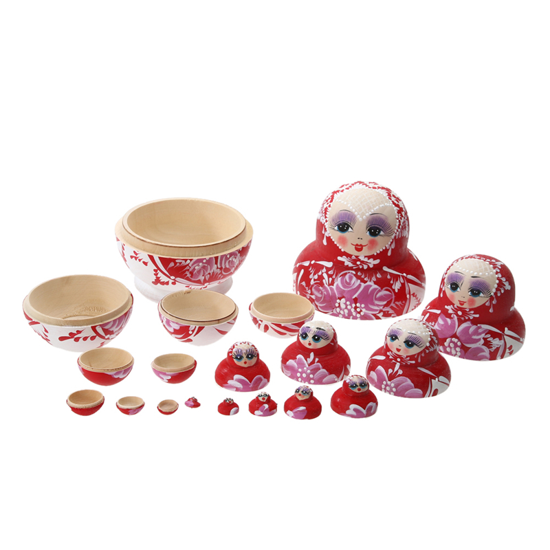 10PCS set Baby font b toys b font Baby Kids Wooden Russian Nesting Dolls Matryoshka Dolls