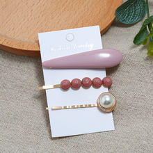 Bohopan Solid Color Water Drop Hair Clips Set Fashion Exquisite Pearl Pins For Women Round Natural Stone Female Headwear