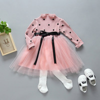 Wholesale DHL EMS Free 2017 New Styles Polka Dot Girls Toddlers Kids Dress Pink Tulle Dress