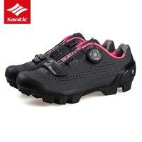 Santic Для женщин велосипедные туфли из дышащей искусственной кожи горный велосипед обувь Pro Team спортивный велосипед автоблокировкой обувь