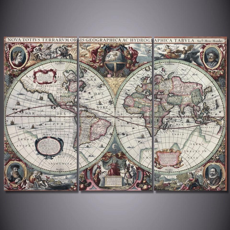 World Map Framed Wall Art.3 Pcs Set Framed Hd Printed Ancient World Map Picture Wall Art