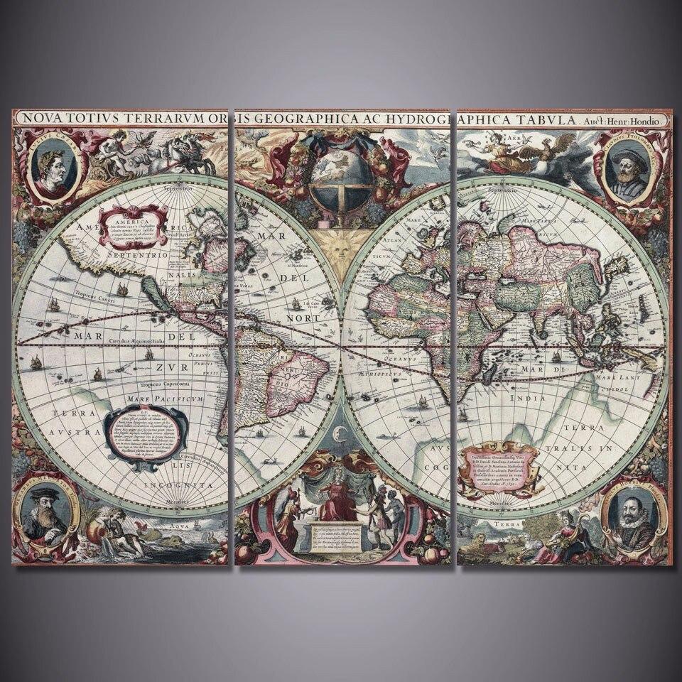 3 Teile/satz Gerahmte HD Gedruckt Alte Welt Karte Bild Wandkunst ...