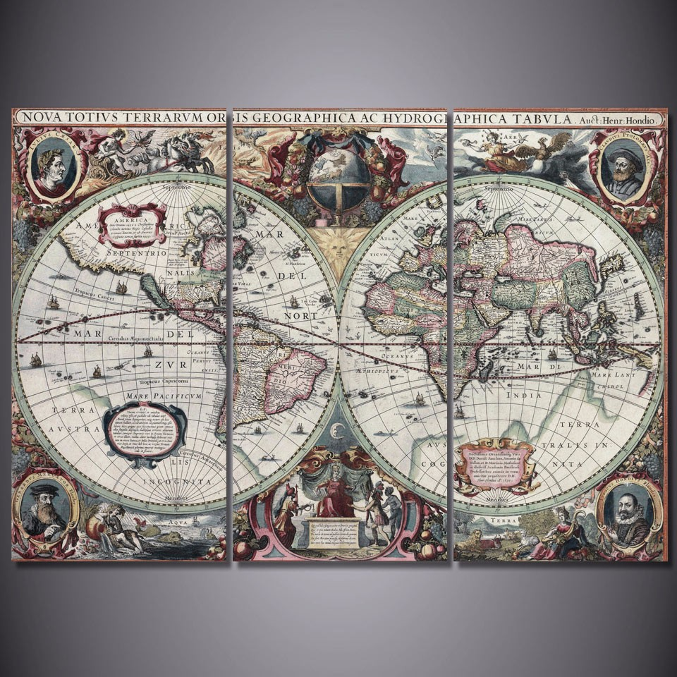 3 pièces/ensemble encadrée HD imprimé ancienne carte du monde photo mur Art toile impression décor affiche toile moderne peinture à l'huile