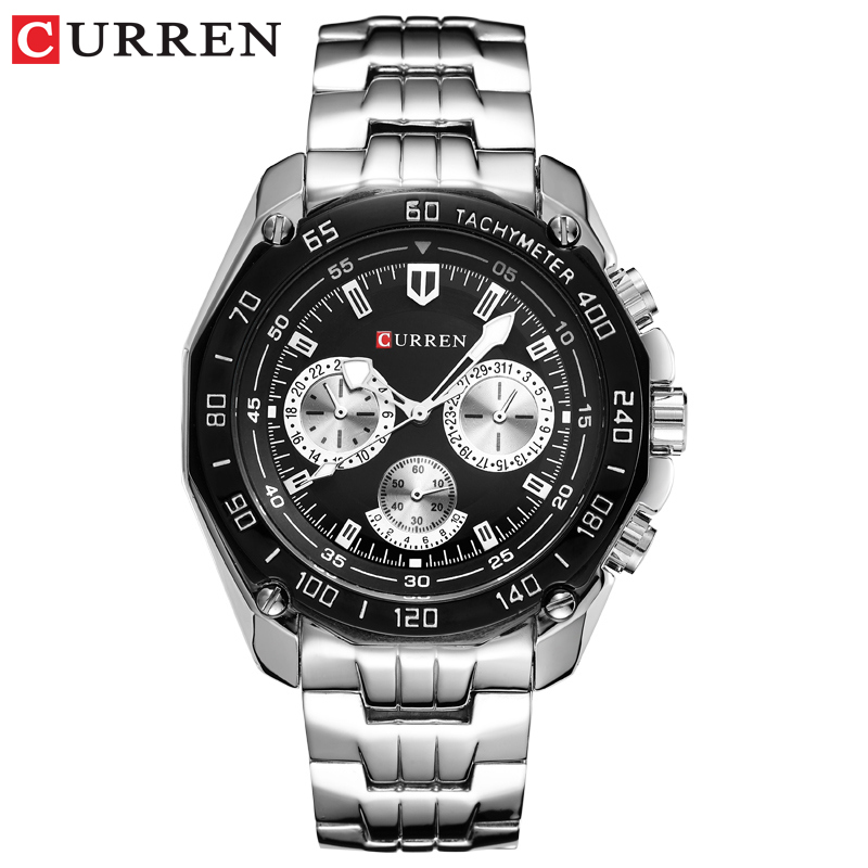 Watches Men's Full Stainless Steel Wristwatch CURREN Fashion Quartz Mens Watch Analog Sport Gentleman Clock Male Watch Relojes