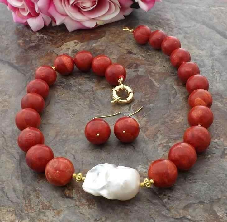 beautiful 14 mm Red Coral White Keshi Pearl Necklace Earrings Set 18""