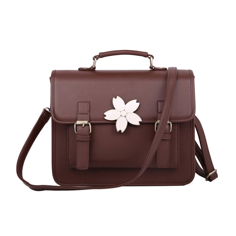 PU Japanese JK portable commuter bag retro cherry bags soft sister COS uniform shoulder Messenger pu